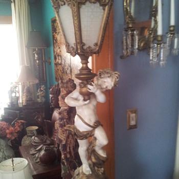 Moreau Spelter Cherub Lamp  - Lamps