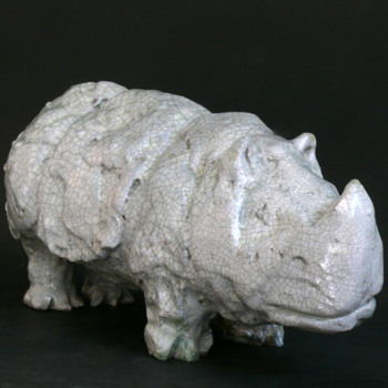 crackled celadon rhino sculpture - Pottery