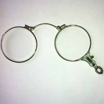 Art deco 935 silver enamel lorgnette. - Accessories