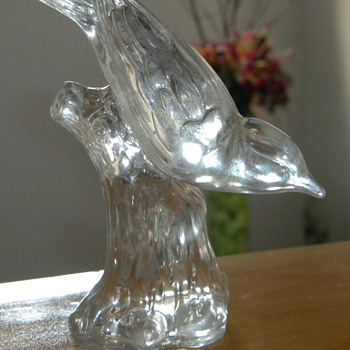 Vintage Glass bird on branch - Art Glass