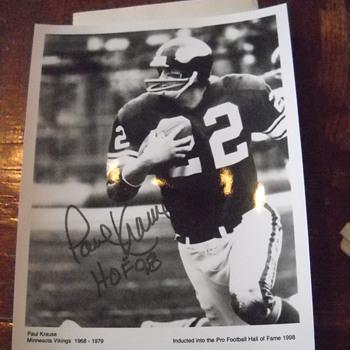 Paul Krause autographed 8x10