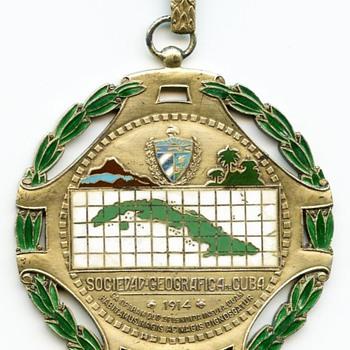 1910s period Sociedad Geografica de Cuba sterling & enamel medal - Medals Pins and Badges