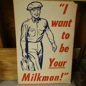 Vintage cardboard poster regarding milk...... - Signs