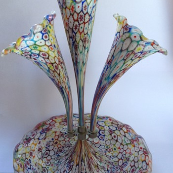 Venetian millefiori satin glass three trumpet epergne - Art Glass