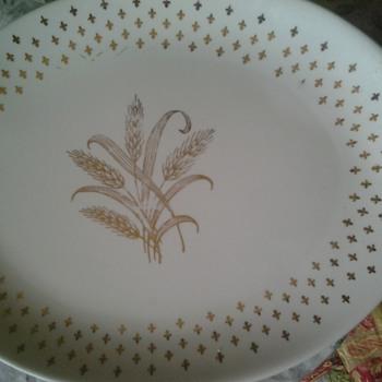 gold wheat platter - China and Dinnerware