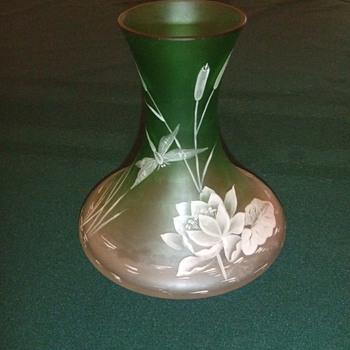 Art Glass enamel vase - Art Glass