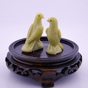 Vintage Chinese Carved Jade Birds Pair - Asian