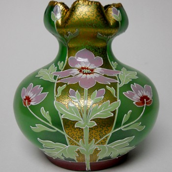 Fritz Heckert/Otto Thamm, TH134, Gold Gild and Poppy Flowers Vase, Max Rade ? or Ludwig Sütterin ?, Designer,1900  - Art Glass