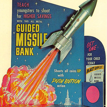 Postcard Advertising a cardboard stand-up advertising display for Astro Manufacturer's Guided Missile Bank...