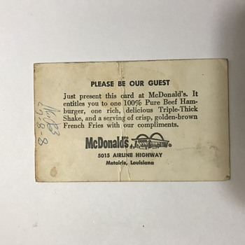 McDonalds 1960s Guest free meal card - Advertising