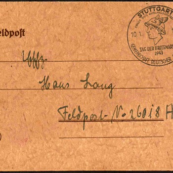 "1943 - German ""Stamp Day"" Postmarked Postal Card - Stamps"