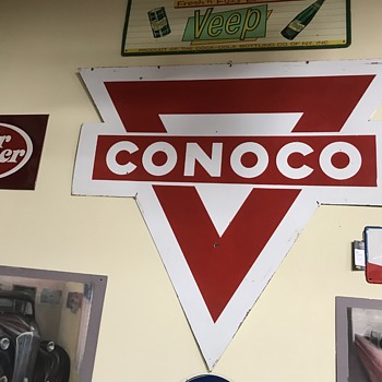 Conoco gasoline sign 6ft and 3ft sign in holder - Petroliana