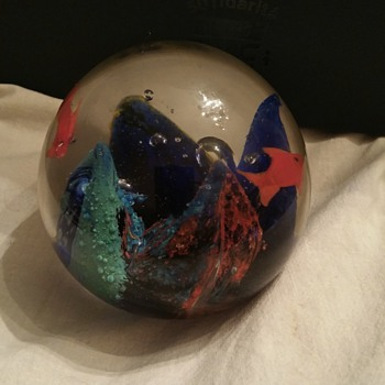 Aquarium Glass Paperweight - Art Glass