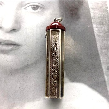 Engraved Silver Vintage Lipstick Holder/Case 1920's 1930's  Bakelite Top ~ Highly Ornate! - Art Deco