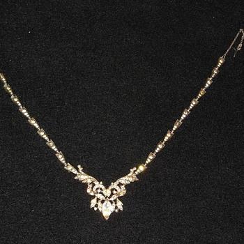 Gorgeous Art Deco Style Rhinestone Necklace  - Costume Jewelry