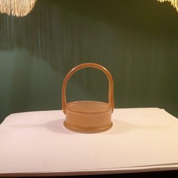 Strange Little Vaseline Glass Mint Holder With Basket Handle - Art Glass