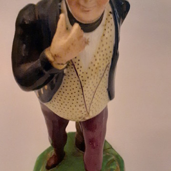 "Staffordshire figurine 1840 Sam Weller from Dickens first novel 8 1/2"" - Figurines"