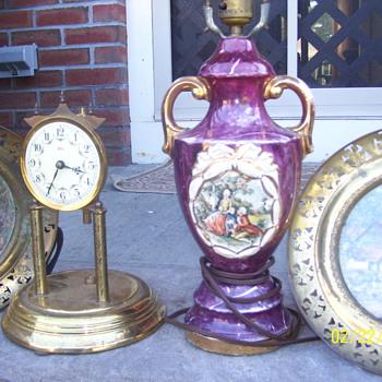 koma clock old lamp brass plates  england