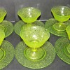 LE Smith Vaseline Glass Sherbet Dish and Saucer