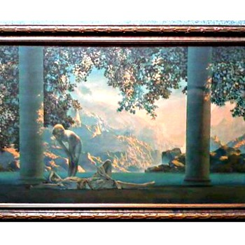 "Maxfield Parrish ""Daybreak"" Print /Period Frame 33"" x 22""/Circa 1920's  - Posters and Prints"