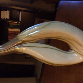 Pottery ceramic vase art decor deco Glass glaze on Haeger look handcrafted - Pottery