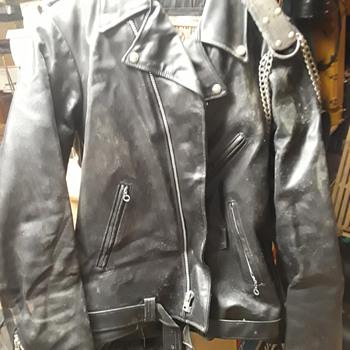 black leather motorcycle jacket (#2) - Mens Clothing