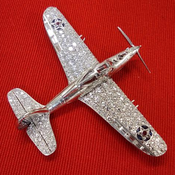 PART 5,  BELL P-39 AIRACOBRA BROOCH, DIAMOND WINGS, EXCEEDS 228 DIAMONDS - LARRY BELL OF BELL AIRCRAFT CO. WWII  AVIATION - Advertising