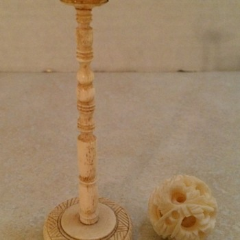 Two Examples of Ivory Puzzle Balls And Stands - Asian