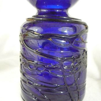 Studio glass bottle/vase with spastic rigaree - Art Glass