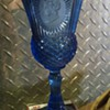 a blue goblet found in family storage