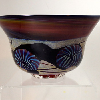 Studio Art Glass Bowl, 1997, unknown maker initials HS?