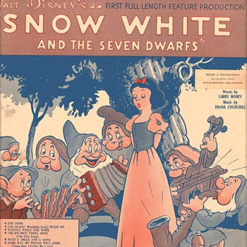"Sheet Music - ""Heigh-Ho"" from ""Snow White and the Seven Dwarfs"" 1938 - Music Memorabilia"