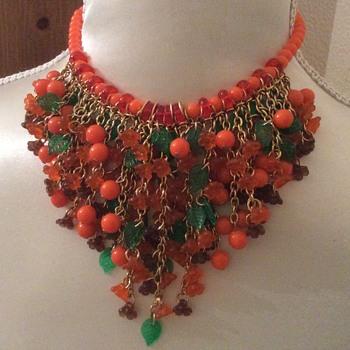 Mid Century lucite bib Necklace  - Costume Jewelry
