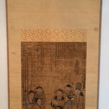 Very old Chinese Scroll painting Scroll, immortals, wise men, monks? Signed marked  - Asian