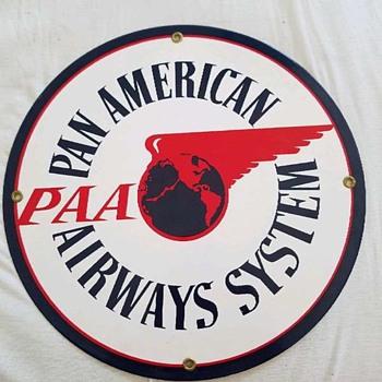 PAN AM American AIRWAYS SYSTEM enamel Sign - Advertising