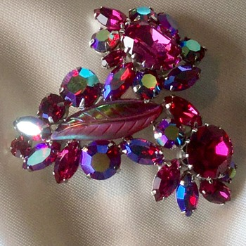 Sherman Fuchsia Brooch - Costume Jewelry