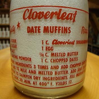 Cloverleaf Dairy Milk Bottle Date Muffin Recipe on back...(Salt Lake City Utah)