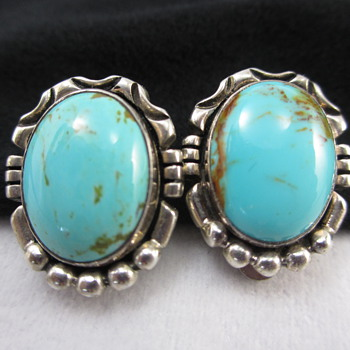 Sterling Silver Turquoise Earrings  Unknown Designer - Fine Jewelry