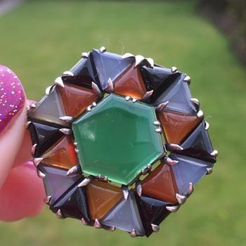 German or French Art Deco Geometric Agate Pendant - Arts and Crafts