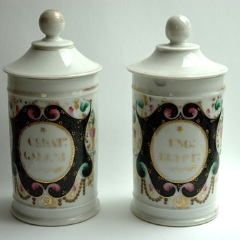 pair of antique french porcelain  apothecary pot . - Pottery