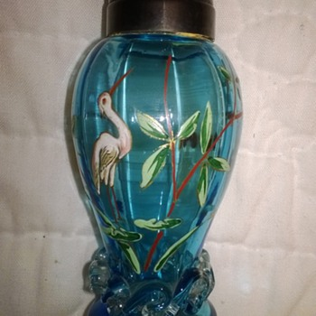 Unusual Decorated Shaker, Stork - Art Glass