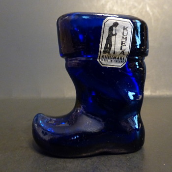Kumela Riihimäki Glass, Finland cobalt glass boot - Art Glass