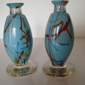 Pair of Bohemian peloton glass vases - Art Glass
