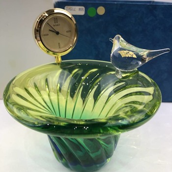 Ginza Wako glass bowl with clock - Art Glass