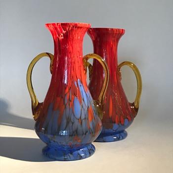 Pair of Amber Handled Czech Glass Spatter Vases