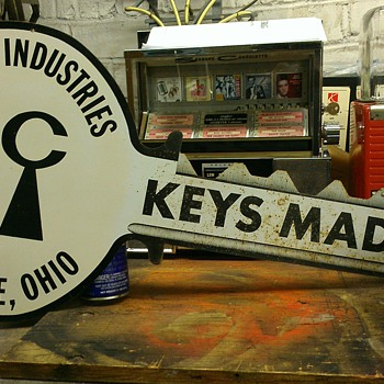 Vintage Curtis industries Key sign - Signs