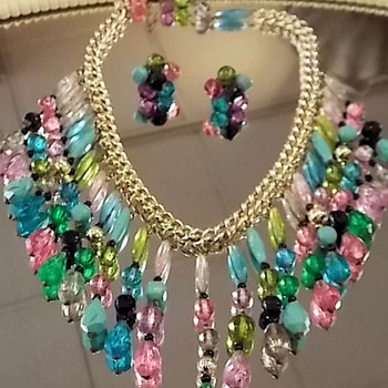 West German Eloxal & Acrylic/Lucite Bib necklace & earring set. - Costume Jewelry