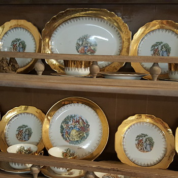 Gold plates Lady and man victorian - China and Dinnerware