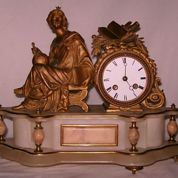 French Ormolu Marble Clock