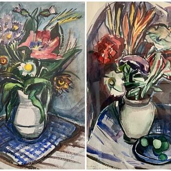 Vintage Wisconsin Artist Gertrude Holberg Urich Original Watercolor Paintings Signed - Fine Art